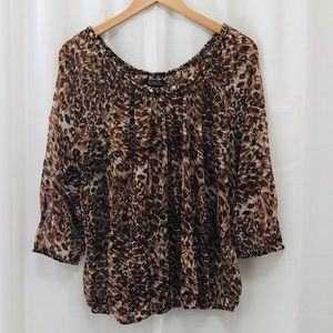 Lucky Brand animal print gauze peasant top L NWT